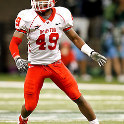 November 10, 2011; New Orleans, LA, USA; Houston Cougars linebacker Derrick Mathews (49) against the Tulane Green Wave during the fourth quarter at the Mercedes-Benz Superdome.  Houston defeated Tulane 73-17. Mandatory Credit: Derick E. Hingle-US PRESSWIRE