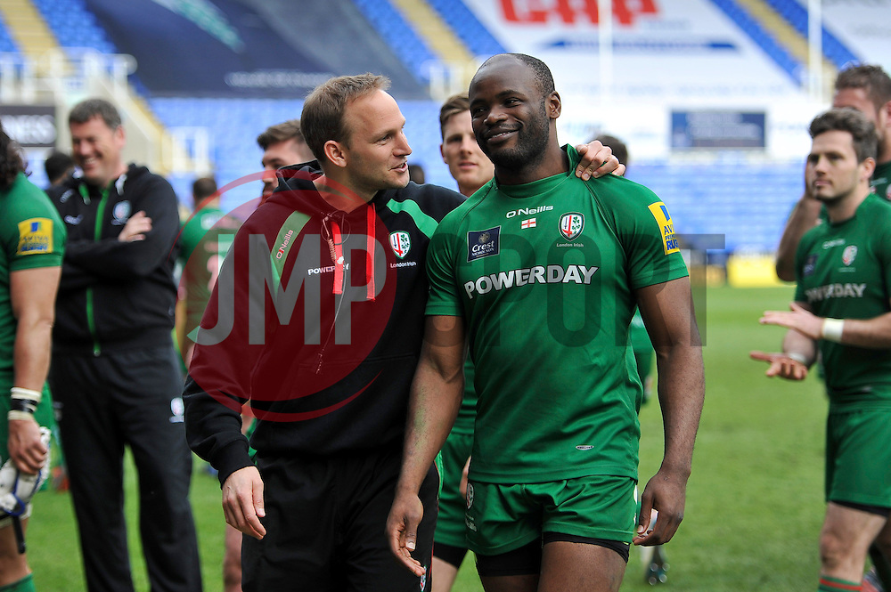 Topsy Ojo of London Irish is all smiles after the match - Photo mandatory by-line: Patrick Khachfe/JMP - Mobile: 07966 386802 12/04/2015 - SPORT - RUGBY UNION - Reading - Madejski Stadium - London Irish v Sale Sharks - Aviva Premiership