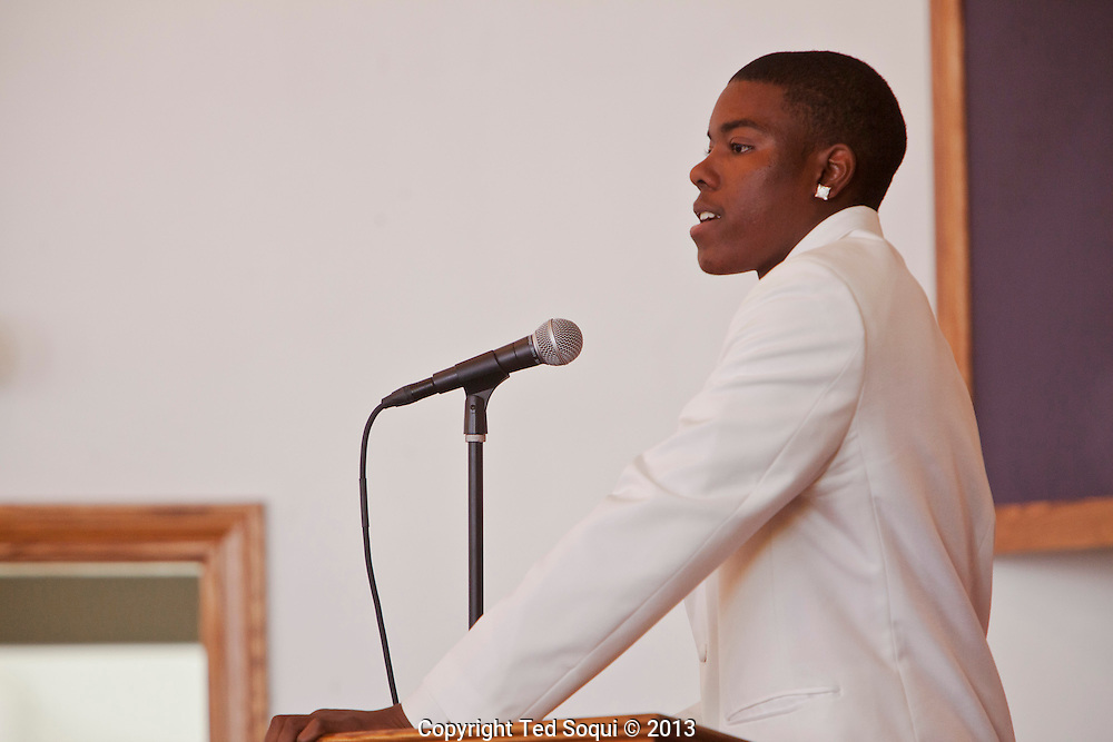 Kevin's son speaking.<br /> Funeral services for Kevin &quot;Flipside&quot; White at Macedonia Church in Watts.<br /> White was shot dead in what is believed to be an unprovoked attack during a gang conflict at Watts' Nickerson Gardens and Jordan Downs housing projects.<br /> Flipside, 44, was a founding member of Watts' first major label hip hop act, O.F.T.B. (Operation From The Bottom).