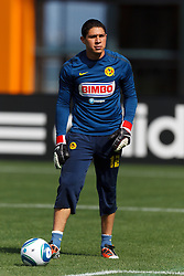 July 16, 2011; San Francisco, CA, USA;  Club America goalkeeper Hugo Gonzalez (12) warms up before the game against Manchester City at AT&T Park. Manchester City defeated Club America 2-0.