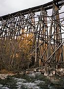 Railroad Trestle, wooden trestle, Creek, Fall, autumn, McCarthy, Kennicott, Wrangell-St. Elias National Park, Alaska