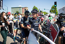Julie Leth (DEN) of Wiggle High5 Cycling Team walks to the sign-on podium Stage 1 of the Amgen Tour of California - a 124 km road race, starting and finishing in Elk Grove on May 17, 2018, in California, United States. (Photo by Balint Hamvas/Velofocus.com)