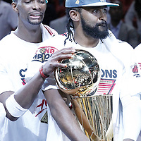 21 June 2012: Miami Heat power forward Chris Bosh (1) and Miami Heat center Ronny Turiaf (21) celebrate after the Miami Heat 121-106 victory over the Oklahoma City Thunder, in Game 5 of the 2012 NBA Finals, at the AmericanAirlinesArena, Miami, Florida, USA. The Miami Heat wins the series 4-1.