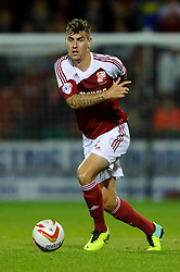 Swindon Defender Grant Hall (ENG) in action during the first half of the match - Photo mandatory by-line: Rogan Thomson/JMP - Tel: Mobile: 07966 386802 08/10/2013 - SPORT - FOOTBALL - County Ground, Swindon - Swindon Town v Plymouth Argyle - Johnstone Paint Trophy Round 2.