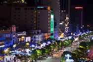 An aerial view of Nguyen Hue Boulevard at night in Ho Chi MInh City, Vietnam, Southeast Asia