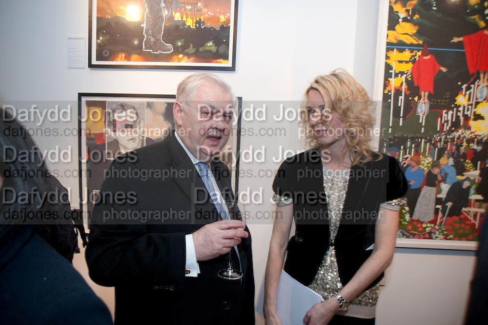 LORD LAMONT; SERENA MORTON, Exhibition of Gerald Laing Graphics. Opening of the Morton Metropolis Gallery. Hosted by Serena Morton and Raye Cosbert.  London. 10 February 2010