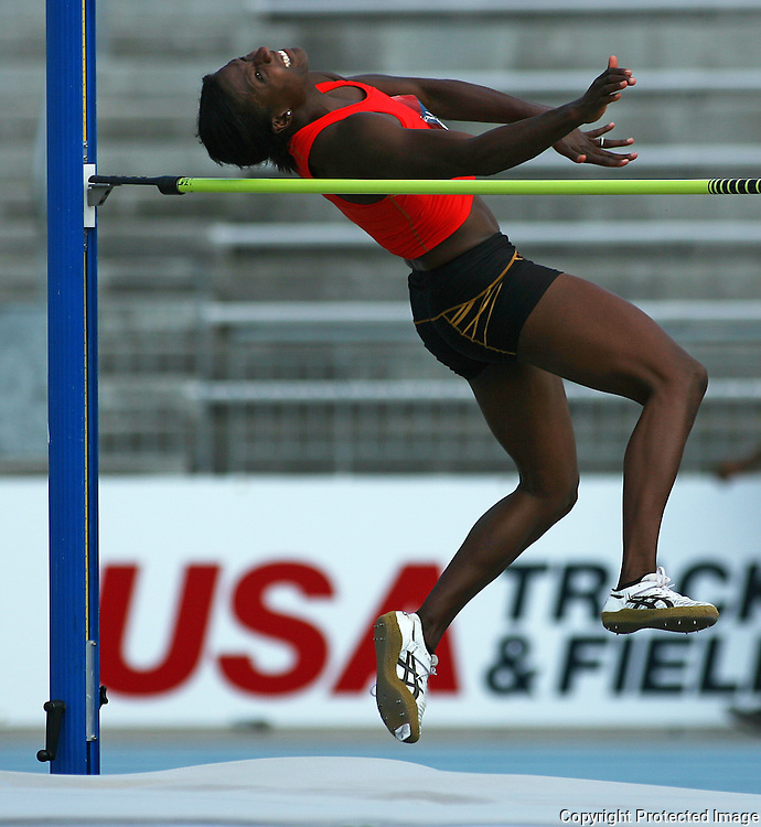 DAY - 13USA, Des Moines, Ia.- Sharon Day clears a height in the heptathlon high jump.  Photo by David Peterson