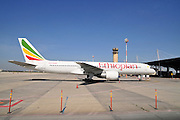 Israel, Ben-Gurion international Airport Ethiopian Airlines Boeing 757 Passenger Jet on the ground