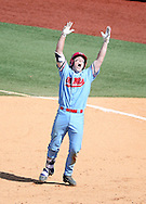 Ole Miss&rsquo; Henri Lartigue celebrates following his game winning hit in the bottom of the 9th inning against Auburn at Oxford-University Stadium in Oxford, Miss. on Sunday, April 24, 2016.<br /> <br /> Photo by Joshua McCoy/Ole Miss Athletics<br /> <br /> @olemisspix