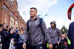 LONDON, ENGLAND - Sunday, March 17, 2019: Liverpool's Dejan Lovren arrives before the FA Premier League match between Fulham FC and Liverpool FC at Craven Cottage. (Pic by David Rawcliffe/Propaganda)