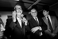 BELPASSO, ITALY - 28 OCTOBER 2017: Nello Musumeci (left), the center-right candidate running for governor of Sicily in the upcoming Sicilan regional election, gives a speech during a rally in Belpasso, Italy, on October 28th 2017.<br /> <br /> The Sicilian regional election for the renewal of the Sicilian Regional Assembly and the election of the President of Sicily will be held on 5th November 2017.