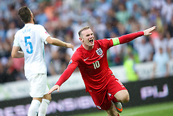 Wayne Rooney of England celebrates after scoring third goal for England during the EURO 2016 Qualifier Group E match between Slovenia and England at SRC Stozice on June 14, 2015 in Ljubljana, Slovenia. Photo by Vid Ponikvar / Sportida