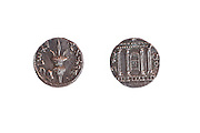 Silver coin from the Shimon Bar Kokhba revolt 132-135 AD. Left Lulav and Ethrog. Right temple facade