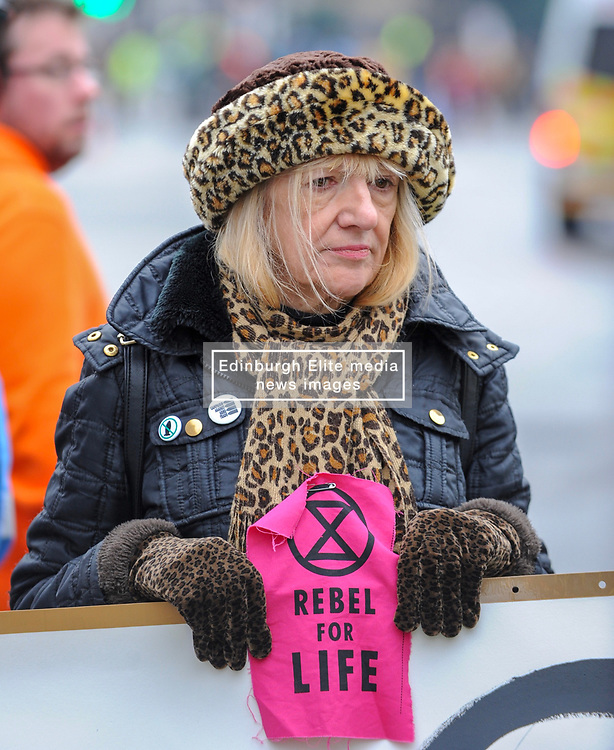 Extinction Rebellion campaigners came together in London for Rebellion Day 2. The protesters gathered on Parliament Square and blocked all roads leading up to the area. The pro-people and planet group are calling on the Government to reduce carbon emissions to net zero by 2025 and to reduce consumption levels. London, 24 November 2018.