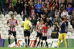 20.10.2011, San Mames Stadion, Bilbao, ESP, UEFA EL, Gruppe F, Athletic Bilbao (ESP) vs RB Salzburg (AUT), im Bild Athletic de Bilbao's Fernando LLorente (c-l) and Iker Muniain (c-r) celebrate goal  // during UEFA Europa League group F match between Athletic Bilbao (ESP) vs RB Salzburg (AUT) at San Mames Stadium, Bilbao, Spain on 20/10/2011. EXPA Pictures © 2011, PhotoCredit: EXPA/ Alterphoto/ Acero +++++ ATTENTION - OUT OF SPAIN/(ESP) +++++