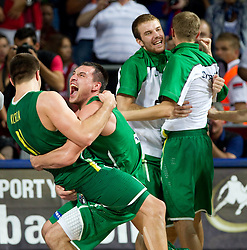 Linas Kleiza of Lithuania and Jonas Maciulis of Lithuania celebrate after winning  the third-place basketball match between National teams of Serbia and Lithuania at 2010 FIBA World Championships on September 12, 2010 at the Sinan Erdem Dome in Istanbul, Turkey. Lithuania defeated Serbia 99 - 88 and win placed third.  (Photo By Vid Ponikvar / Sportida.com)