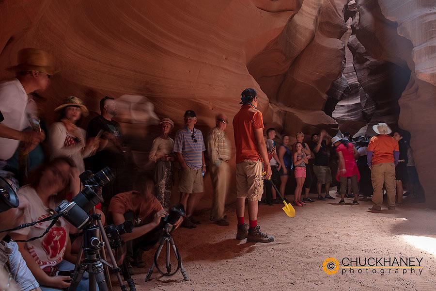 Mayhem with overcrowding in Upper Antelope Canyon near Page, Arizona, USA