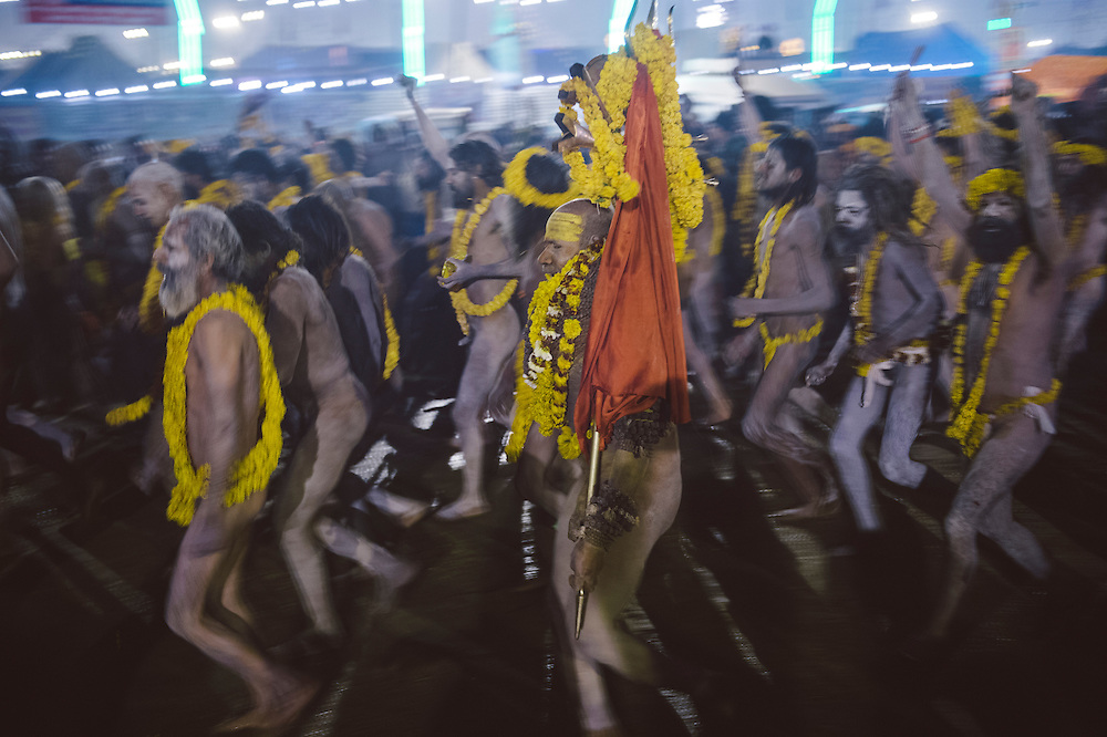 Naga Sadhus of Niranjani Akhara going for the royal bath on Mauni Amavasya, one of the main bathing dates during the Kumbh Mela in Allahabad.