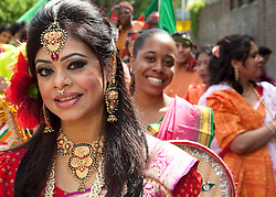 ©under licence to London News Pictures. Baishakhi Mela, the Bangladeshi community celebrate the Bengali New Year in Brick Lane, Banglatown, London with a parade. In this picture: Sonia, 28, from Whitechapel. Photo credit should read Bettina Strenske/LNP.