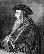 Jean Calvin (1509-1564) French theologian. Protestant reformer. He settled Geneva and was leading figure in the Protestant Reformation. Gave his name to the strict form of Protestantism, Calvinism. Copperplate engraving by Konrad Meyer (1616-1689).