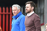 Nick Daws and Graham Alexander manager of Scunthorpe United  during the Sky Bet League 1 match between Scunthorpe United and Swindon Town at Glanford Park, Scunthorpe, England on 28 March 2016. Photo by Ian Lyall.