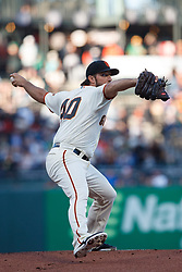 SAN FRANCISCO, CA - AUGUST 13: Madison Bumgarner #40 of the San Francisco Giants pitches against the Oakland Athletics during the first inning at Oracle Park on August 13, 2019 in San Francisco, California. The San Francisco Giants defeated the Oakland Athletics 3-2. (Photo by Jason O. Watson/Getty Images) *** Local Caption *** Madison Bumgarner
