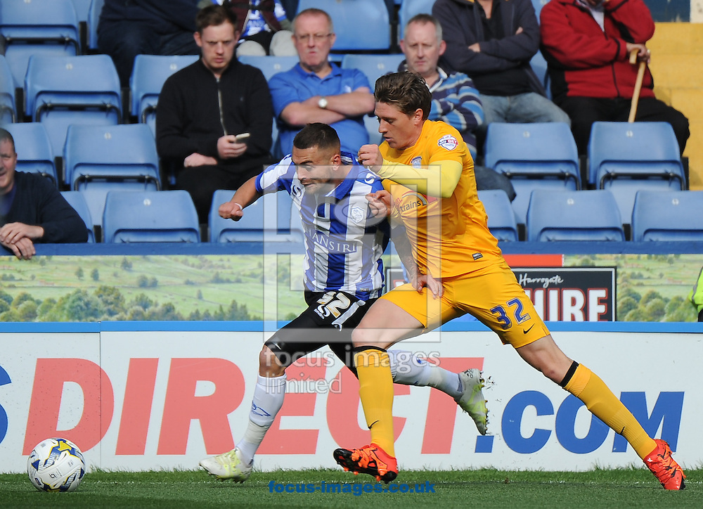 Jack Hunt of Sheffield Wednesday and Adam Reach of Preston North End during the Sky Bet Championship match at Hillsborough, Sheffield<br /> Picture by Richard Land/Focus Images Ltd +44 7713 507003<br /> 03/10/2015