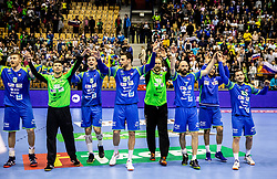 Players of Slovenia celebrate after winning during handball match between National teams of Slovenia and Netherlands in Qualifications of 2020 Men's EHF EURO, on April 14, 2019, in Arena Zlatorog, Celje, Slovenia. Photo by Vid Ponikvar / Sportida
