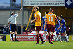 Peterborough United's Shaun Brisley is sent off for a second bookable offence  - Photo mandatory by-line: Joe Dent/JMP - Mobile: 07966 386802 18/04/2014 - SPORT - FOOTBALL - Bradford - Valley Parade - Bradford City v Peterborough United - Sky Bet League One