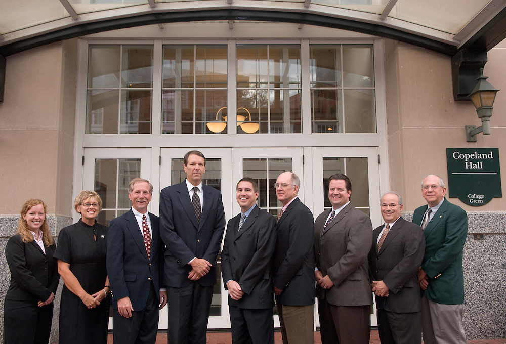 18466Group Portrait, School of Accountancy, Founding Sponsors, College of Business..left to right:..Maggie Shirner, staff for Bob Biehl / Jeanette Addington /  Lee Beall, Partner /  Mike Fritz, Partner / Dan Mutzig, Senior Manager / Tom Hazelbaker, President / Steve Driver, Senior Manager / Neil Kaback, Partner / Ray G. Stephens, Prof and Director, Center for Profesional Accountancy