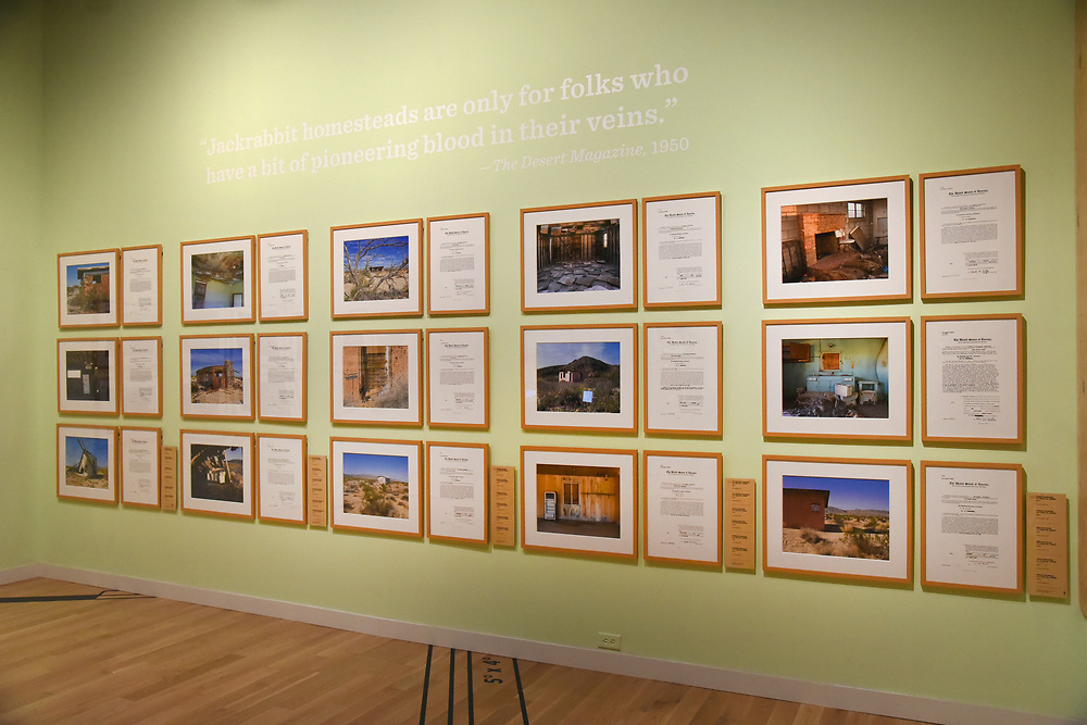 Installation view from Jackrabbit Homestead at the Autry National Center (Irene Helen Jones Parks Gallery) from September 13, 2014 - August 23, 2015. This exhibit coincided with Kim Stringfellow being awarded the Theo Westenberger Award for Artistic Excellence in 2012. The award honors the achievements of contemporary women whose work in photography, film, and new media transforms how we see the American West.