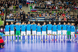 Slovenian team during futsal match between Slovenia and Serbia at Day 1 of UEFA Futsal EURO 2018, on January 30, 2018 in Arena Stozice, Ljubljana, Slovenia. Photo by Ziga Zupan / Sportida