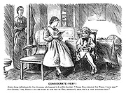 "Considerate - Very! Master George (alluding to the new governess, who happened to be within hearing). ""Cross, disagreeable old thing, I call her!"" Miss Caroline. ""Oh, Georgy! But we ought to give way to her; Recollect, dear, she's a very awkward age!"""
