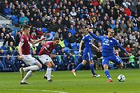 Football - 2018 / 2019 Premier League - Cardiff City vs. West Ham United<br /> <br /> Joe Bennett of Cardiff City shoots at goal, at Cardiff City Stadium.<br /> <br /> COLORSPORT/WINSTON BYNORTH