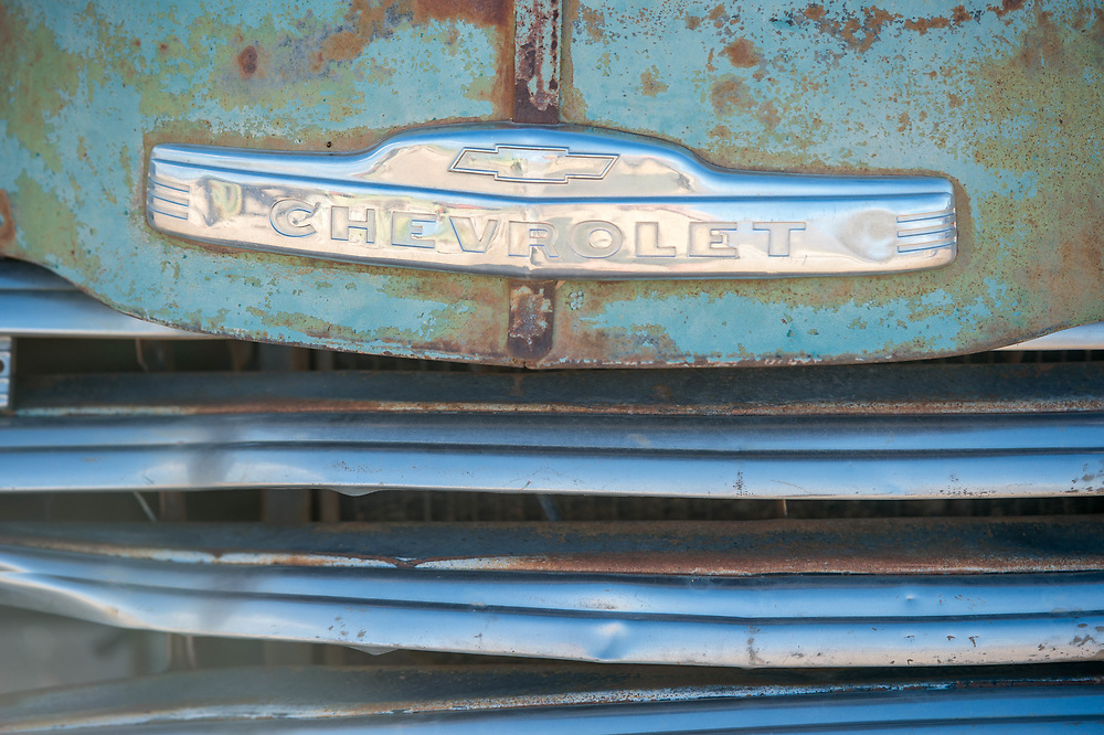 Close up detail on one of the abandoned, rusted car frames located in Solitaire, Namibia.