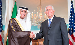 June 13, 2017 - Washington, United States of America - U.S. Secretary of State Rex Tillerson and Saudi Foreign Minister Adel al-Jubeir shake hands before bilateral talks at the State Department June 13, 2017 in Washington, D.C. Saudi Arabia is currently leading a coalition of gulf Arab nations to isolate and pressure Qatar. (Credit Image: © Glen Johnson/Planet Pix via ZUMA Wire)