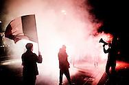 Roma, Italia - 24 novembre 2012. Militanti di Casapound Italia durante una manifestazione di militanti di Casapound a Roma. Casa Pound è il primo centro sociale italiano di ispirazione fascista.  Il nome Casa Pound è ispirato al poeta Ezra Pound, e fa particolare riferimento ai suoi Cantos contro l'usura, alle posizioni economiche di critica tanto al capitalismo quanto al marxismo ed alla sua adesione alla Repubblica Sociale Italiana. .Ph. Roberto Salomone Ag. Controluce.ITALY - Militants of extreme right fascit movment of CasaPound rally in Rome on November 24, 2012. The group is the first social center  of fascist ispiration in Italy and its name was ispired by poet Ezra Pound.