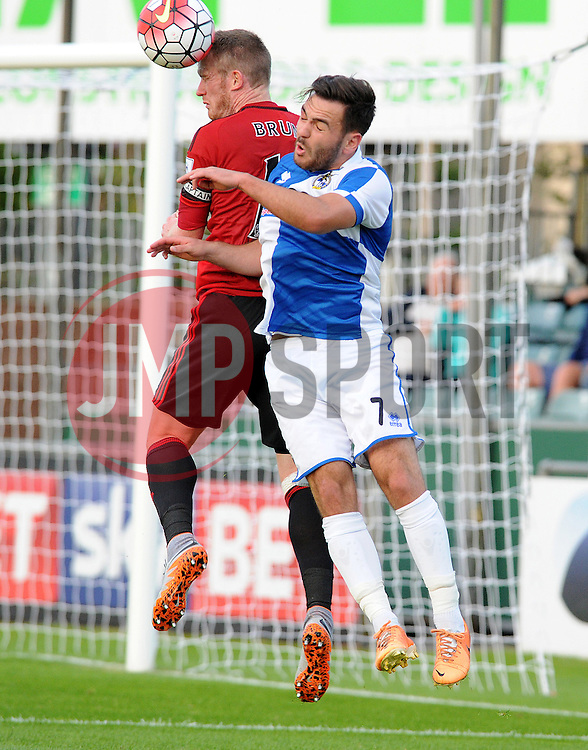Jake Gosling of Bristol Rovers challenges Chris Brunt of West Brom - Mandatory by-line: Neil Brookman/JMP - 07966386802 - 31/07/2015 - SPORT - FOOTBALL - Bristol,England - Memorial Stadium - Bristol Rovers v West Brom - Pre-Season Friendly