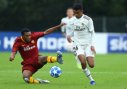 November 27, 2018 - Rome, Italy - AS Roma - FC Real Madrid : UEFA Youth League Group G .Jean Freddi Greco of Roma tackles on Marvin Park of Real Madrid at Tre Fontane Stadium in Rome, Italy on November 27, 2018. (Credit Image: © Matteo Ciambelli/NurPhoto via ZUMA Press)