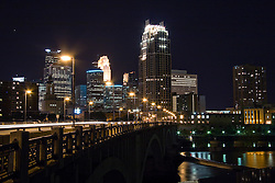 Minneapolis, Minnesota Night Skyline from the Mississippi River