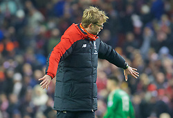 LIVERPOOL, ENGLAND - Sunday, December 13, 2015: Liverpool's manager Jürgen Klopp thanking fans after the Premier League match against West Bromwich Albion at Anfield. (Pic by James Maloney/Propaganda)