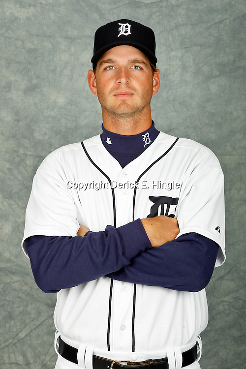 February 28, 2012; Lakeland, FL, USA; Detroit Tigers starting pitcher Jacob Turner (50) poses for photo day in the rec room at the Detroit Tigers Headquarters.  Mandatory Credit: Derick E. Hingle-US PRESSWIRE