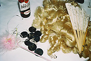 Wig, fan and other costume accessories, Posh at Addington Palace, UK, August, 2004