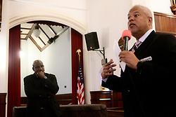 State Senator Anthony Hardy Williams reacts to questions about gun violence, blight and inequality of gentrification during a forum with all three Mayoral candidates at Janes Church in Germantown, on Sunday. (Bastiaan Slabbers for WHYY)