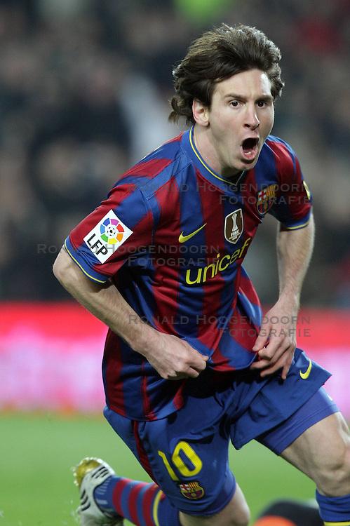 14-03-2010 VOETBAL: BARCELONA - VALENCIA: BARCELONA<br /> Barcelona's player Lionel Messi celebrating his goal<br /> ©2010- nph / Alterphotos<br /> <br />  *** Local Caption *** Fotos sind ohne vorherigen schriftliche Zustimmung ausschliesslich für redaktionelle Publikationszwecke zu verwenden.