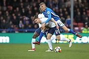 Mark Kitching and Juan Foyth during the The FA Cup match between Rochdale and Tottenham Hotspur at Spotland, Rochdale, England on 18 February 2018. Picture by Daniel Youngs.