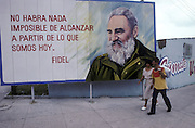 Billboard of propoganda by Fidel Castro. Havana, cuba, 1992