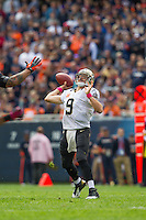 06 October 2013: Quarterback (9) Drew Brees of the New Orleans Saints passes the ball deep against the Chicago Bears during the first half of the Saints 26-18 victory over the Bears in an NFL Game at Soldier Field in Chicago, IL.
