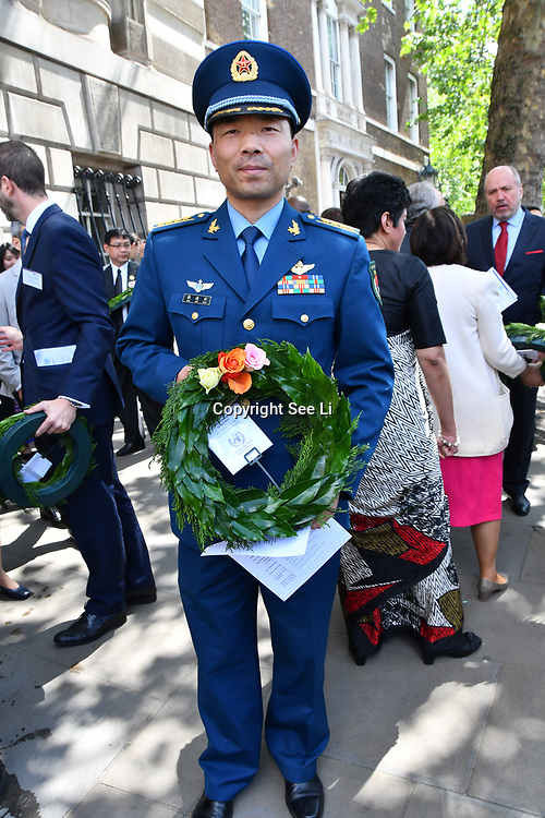 Dai Jin Hua is from China of the People's Liberation Army, Peacekeepers representative attend International Day of United Nations Peacekeepers - Remembrance Ceremony, on 23 May 2019, London, UK.
