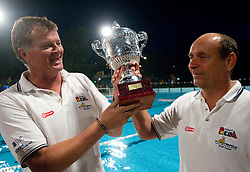 Duho Veselin, head coach of VK Rokava Koper and his assistant Marino Cetin after the water polo match between ASD Vaterpolo Rokava Koper and AVK Triglav Kranj in 3rd Round of Final of Slovenian Water polo National Championship, on June 8, 2011 in Zusterna pool, Koper, Slovenia. Rokava Koper defeated Triglav Kranj 12-6 and became Slovenian Champion 2011. (Photo By Vid Ponikvar / Sportida.com)
